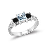 0.64-0.88 Cts Black Diamond & 0.69 Cts Sky Blue Topaz Ring in 14K White Gold