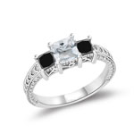 0.64-0.88 Cts Black Diamond & 0.69 Cts White Topaz Ring in 14K White Gold