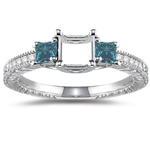 0.48 Cts Blue & White Diamond Ring Setting in 14K White Gold
