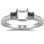 0.48 Cts Champagne & White Diamond Ring Setting in 14K White Gold