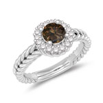 0.68 Cts Champagne & White Diamond Cluster Ring in 14K White Gold