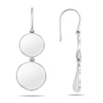 White Gold Wave Disc Dangle Earrings in 14K Gold