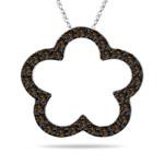 0.50 Cts Brown Diamond Flower Pendant in 14K White Gold