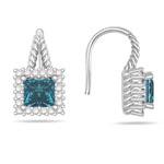 2.05 Cts Blue & White Diamond Earrings in 14K White Gold