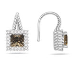 2.05 Cts Champagne & White Diamond Cluster Earrings in 14K White Gold
