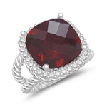 0.32 Cts Diamond & 9.34 Cts Garnet Ring in 14K White Gold