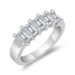 0.90 Cts Cubic Zircon Five Stone Ring in 14K White Gold