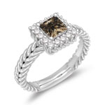 0.66 Cts Champagne & White Diamond Cluster Ring in 14K White Gold