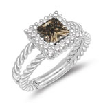1.03 Cts Champagne & White Diamond Cluster Ring in 14K White Gold