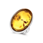 25x18 mm Oval Amber Solitaire Ring in Silver