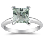1.41 Cts of 7 mm AAA Princess Green Amethyst Solitaire Ring in 14K White Gold