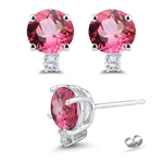 0.06 Cts Diamond & 0.92 Cts 5 mm AA Round Pink Tourmaline Earrings in 18K White Gold