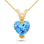 0.89 Cts Blue Topaz Solitaire Heart Pendant in 14K Yellow Gold