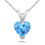0.89 Cts of 6 mm AA Heart Blue Topaz Solitaire Pendant in 14K White Gold