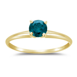 1/3 Cts Teal Blue Diamond Solitaire Engagement Ring in 14K Yellow Gold