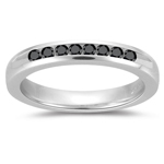 0.16 Cts Black Diamond Wedding Band in 14K White Gold