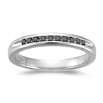 0.20 Cts Black Diamond Classic Channel-set Wedding Band in 14K White Gold