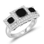 2.20-2.30 Cts Black Diamond & 0.38 Cts Diamond Three Stone Ring in 14K White Gold