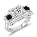 2.23 Cts Black & White Diamond Ring in 14K White Gold