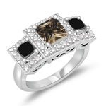 1.28 Cts Black & White Diamond, 1.05 Cts Brown Diamond Ring in 14K White Gold