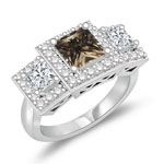 0.66 Cts Brown & 0.98 White Diamond Ring in 14K White Gold