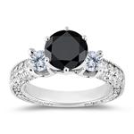 2.10 Cts Black & White Diamond Ring Setting in 14K White Gold