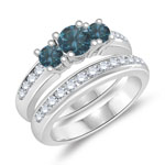 1.30 Cts Blue & White Diamond Three Stone Engagement Ring & Wedding Band Set in 14K White Gold