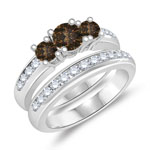 1.30 Cts Brown & White Diamond Three Stone Engagement Ring & Wedding Band Set in 14K White Gold