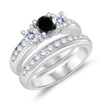 0.43-0.52 Cts Black Diamond & 0.87 Cts Diamond Engagement-Wedding Ring Set in 14K White Gold