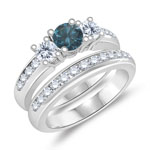 1.27 Cts Blue & White Diamond Engagement-Wedding Ring Set in 14K White Gold