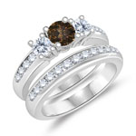 1.27 Cts Brown & White Diamond Engagement-Wedding Ring Set in 14K White Gold