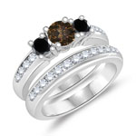 0.37 Cts Brown Diamond, 1.03 Cts Black & White Diamond Engagement-Wedding Ring Set in 14K White Gold