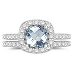 0.68 Cts Diamond & 1.66 Cts AA+ Aquamarine Engagement-Wedding Ring Set in 14K White Gold