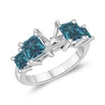 2.31 Cts Blue Diamond Engagement Ring Setting in 14K White Gold (Princess Prong)