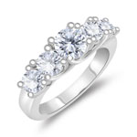 1.39 Cts Diamond Five Stone Ring in 14K White Gold