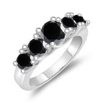 2.12-2.42 Cts Black Diamond Five Stone Ring in 14K White Gold