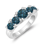 1.53 Cts Blue Diamond Five Stone Ring in 14K White Gold