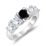 0.64-0.74 Cts Black Diamond & 0.92 Cts Diamond Five Stone Ring in 14K White Gold
