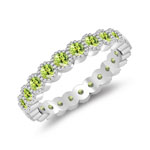 0.92 Cts AAA Peridot Eternity Wedding Band in 14K White Gold