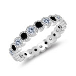 1.06 Cts Black & White Diamond Eternity Wedding Band in 14K White Gold