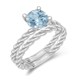 0.72 Cts of 6.5 mm AA Round Aquamarine Solitaire Engagement & Wedding Ring Set in 14K White Gold