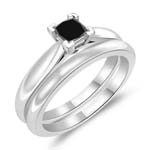 0.39 Cts Black Diamond Solitaire Engagement & Wedding Ring Set in 14K White Gold