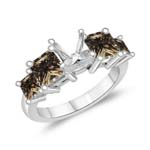 2.31 Cts Brown Diamond Engagement Ring Setting in 14K White Gold (Round Prong)