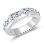 0.99 Cts Diamond Wedding Band in 14K White Gold