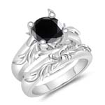 1.24-1.63 Cts Black Diamond Solitaire Engagement & Wedding Ring Set in 14K White Gold