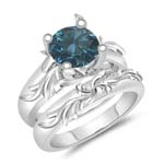 1.10 Cts Blue Diamond Solitaire Engagement & Wedding Ring Set in 14K White Gold