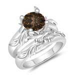 1.10 Cts Brown Diamond Solitaire Engagement & Wedding Ring Set in 14K White Gold