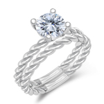 1.00 Ct Diamond Solitaire Engagement & Wedding Ring Set in 14K White Gold