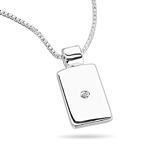 Childrens Jewelry - 0.01 Cts  SI2 - I1 clarity and I-J color Diamond Studded Dog Tag Pendant in 925 Sterling Silver