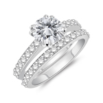 1.64 Cts Diamond Engagement & Wedding Ring Set in 14K White Gold